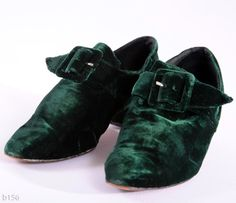 Vintage Kelly Green Velvet Shoes