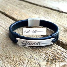 Custom handwriting leather bracelet by CustomLeatherDesign on Etsy