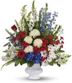 """With+Distinction+-+A+beautiful+mix+of+all-American+red,+white+and+blue+flowers+such+as+hydrangea,+roses,+miniature+carnations,+snapdragons,+chrysanthemums+and+more+are+perfectly+arranged+in+a+white+urn.+Approximately+30+1/2""""+W+x+34+1/2""""+H.+    Your+Louisville,+KY+Florist+-+Aebersold+Florist+delivers+to+Southern+Indiana+and+Metro+Louisville,+KY++daily.++Call+812+945-2544"""