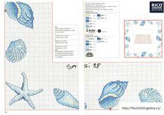 seashells 2 of 2 Embroidery Sampler, Cross Stitch Embroidery, Embroidery Patterns, Cross Stitch Sea, Simple Cross Stitch, Funny Cross Stitch Patterns, Cross Stitch Designs, Candlewicking Patterns, Rico Design