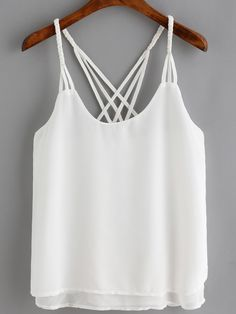 SheIn offers White Spaghetti Strap Loose Cami Top & more to fit your fashionable needs. Cami Tops, Vest Tops, Loose Fitting Tank Tops, Mode Blog, Casual Skirt Outfits, Mode Style, Ladies Dress Design, Camisole, Fashion Outfits