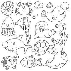 Doodle Art 24159 Sea animals doodle kawaii line art Premium Vector Doodle Art Letters, Easy Doodle Art, Doodle Art Drawing, Doodle Art Journals, Drawing For Kids, Doodle Kids, Doodle Doodle, Doodles Kawaii, Cute Doodles