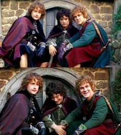 Pippin, Frodo, and Merry in their fancy wear (Billy Boyd, Elijah Wood, and Dom Monghan) how adorable!