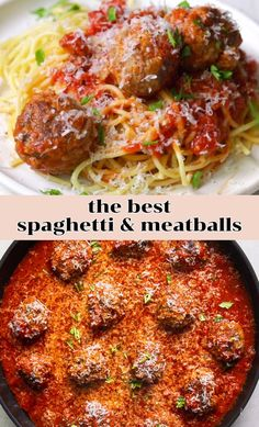 The best recipe for spaghetti and meatballs: I'm spilling all of my tips and tricks to making a tender meatball for an ultra satisfying and comforting meal. Best Spaghetti Recipe, Spaghetti Recipes, Italian Recipes, Beef Recipes, Cooking Recipes, Easy Healthy Dinners, Easy Dinner Recipes, Simple Meals For Dinner, Pasta Dishes