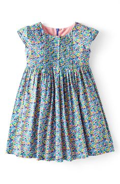 Main Image - Mini Boden 'Pretty Pintuck' Print Cotton Dress (Toddler Girls)