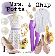 The Joy of Disney: {Beauty & the Beast}: Mrs. Potts and Chip Disney Bound Outfits Casual, Disney Princess Outfits, Disney Dresses, Disney Girls, Disney Outfits, Cute Outfits, Disney Clothes, Chip Costume, Disneybound Outfits