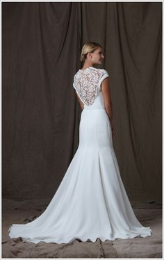 Lela Rose lace back wedding gown