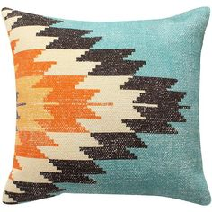 18 x 18 Handwoven Cotton Accent Pillow with Fiery Print, Multicolor - BM221642