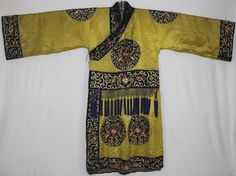 Chinese Old hand embroidery Costume long robe  -