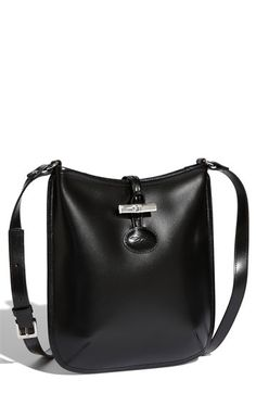$380, Black Leather Crossbody Bag: Roseau Crossbody Bag Small Black by Longchamp. Sold by Nordstrom. Click for more info: http://lookastic.com/women/shop_items/72585/redirect