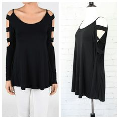 """Black long sleeve top has shoulder to elbow ladder sleeves, and a slight flare. Soft fabric. Measurements ~ armpit to armpit - S 16"""", M 17"""", L 18"""", length - S 29"""", M 29.5"""", L 30"""", armpit to end of sleeve - S 20"""", M 20"""", L 20"""""""
