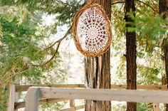 DIY dream catcher: (sale ribbon, wreath, grandmas doily) Hope and Wes – Lake Arrowhead Engagement