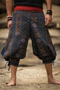 Amazing Unique High Cut Harem Pants made from fairtrade beautiful traditional hill tribe fabric from the North of Thailand. With open-side legs and ankle cuffs with adjustable straps, you can move freely while practicing yoga, doing the split, or chasing Hippie Style, My Style, Hippie Chic, Diy Vetement, Character Outfits, Ankle Straps, Costume Design, Patterned Shorts, Cool Outfits