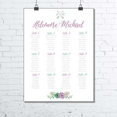 Wedding Seating chart PRINTABLE - Boho Chic Wedding Reception signage - Flowers and arrows seats chart poster - personalized by redlinecs on Etsy