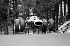 Nurburgring, August 1966: Jackie Stewart takes to the air in his BRM during the German Grand Prix. He would finish fifth behind team mate Graham Hill. © Schlegelmilch