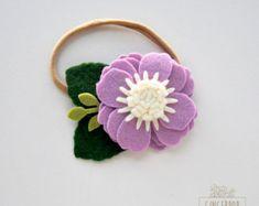 Single Posy Flower Headband or Alligator Clip - Lavender Felt Flower Headband - Baby, Newborn Photo Prop, Newborn Gift, Baby Gift