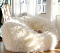 Adorable White Fur Bean Bag Chair For Teen Girl : Extraordinary Cute and Comfortable Teen Bedroom Chairs Shown as Bean Bag Chairs for Girls and Boys - large ladies bags, online shopping for bags, bag for bags *ad Diy Bedroom Decor For Teens, Chairs For Bedroom Teen, Girls Bedroom Furniture, Trendy Bedroom, Bedroom Ideas, Bedroom Pics, White Bedroom, Comfy Bedroom Chair, Bedroom Seating