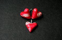 polymer clay heart earrings and pendant lurga / Srdienka No3
