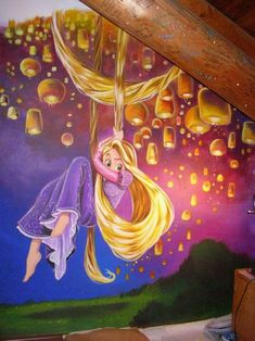 to ] Great to own a Ray-Ban sunglasses as summer gift.Tangled bedroom mural - Rapunzel and the lanterns - not the most neutral look for a kids room Mural Da Disney, Disney Wall Murals, Disney Art, Tangled Bedroom, Rapunzel Room, Girls Bedroom Accessories, Deco Disney, Disney Bedrooms, Bedroom Murals