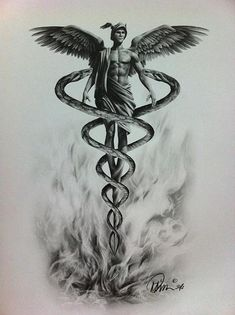 the ancient knowledge — spinallyspiraling: The ancient Caduceus symbol. Caduceus Tattoo, Tattoo Drawings, Hermes Tattoo, Hermes Mythology, Gott Tattoos, Ems Tattoos, Tattoos Skull, Greek Mythology Tattoos, Snake Tattoo