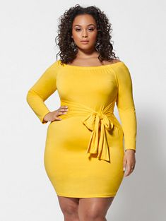 b6b1353fb03 Plus Size Rebekka Off Shoulder Tie-Waist Dress in Medium Yellow Size 0 -  Fashion to Figure