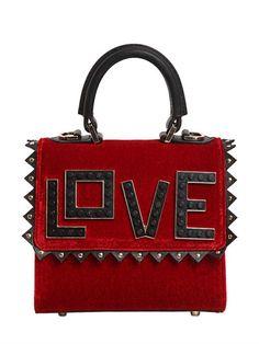 LES PETITS JOUEURS   MICRO ALEX LOVE VELVET & LEATHER BAG - RED/BLACK