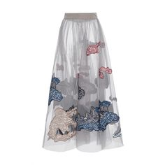 Mountainscape Embroidered Tulle Skirt | Moda Operandi (£5,682) ❤ liked on Polyvore featuring skirts, pleated midi skirt, tulle skirt, high waisted skirts, embroidered skirt and high-waisted midi skirts