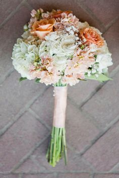Country Chic Wedding Bouquet - peach green white, could still be good for a beach. love the peach color, instead of green more of a sea foam green
