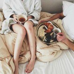 Breakfast in bed. Does it get cozier?