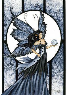 me ~ Amy Brown Captured Moon Fairy Postcard Fantasy Dragon, Fantasy Art, Elves Fantasy, Amy Brown Fairies, Dark Fairies, Moon Fairy, Fairy Paintings, Vampires, Ange Demon
