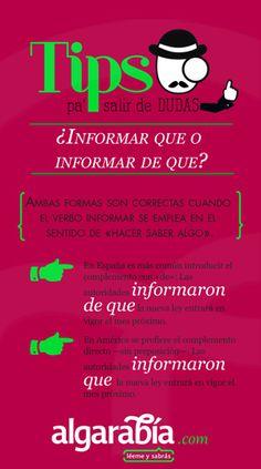 ¿Informar de o informar que?