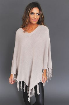 Beige Fringe Trim Poncho - Dottie Couture Boutique. Tara McDermott · fall    winter styles · Bamboo Terry Cloth Robe ... a16668108