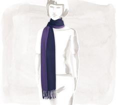 "Evelyne Reversible cashmere scarf, indigo/violet, 11.8"" x 63"""