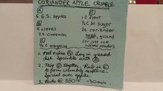 APPLE CRUMBLE WITH CORIANDER #APPLE #fruit #pie_etc. #coriander