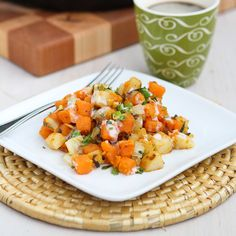 This recipe for Sweet Potato and Endive Hash with a creamy Sriracha Buttermilk Sauce is a healthy and delicious way to do diner food.