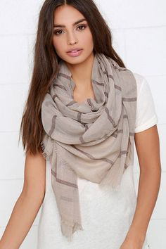 With the Wind Taupe Striped Scarf at Lulus.com!