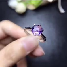 February Birthstone Round Cut in 14K Gold 8mm Amethyst Dainty Solitaire Ring Best Gift for Her Handmade Ring Genuine Purple Gemstone