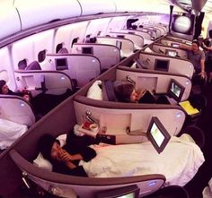 The coolest airplane ever!This airplane looks like the most comfortable airplane ever made. Each passenger gets their own little cubicle with their own fold out TV, pillow and blanket! I would never get off this thing.