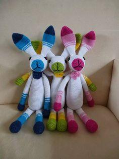 3 kleurige konijnen,3 colorfull rabbits, amigurumi