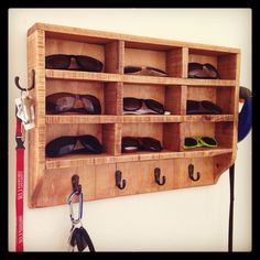 Sunglass rack/key holder made from pallets