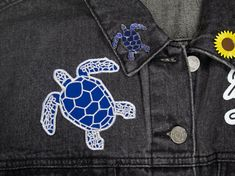 Sea Turtle Iron-On Patch – Studio Chuffed Largest Sea Turtle, Custom Bow Ties, Small Turtles, Iron On Patches, Colours, Shapes, Greece, Cards, Handmade