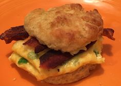 Bacon egg and cheese on a homemade buttermilk biscuit. Breakfast doesn't get much better.
