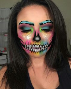 Amazing Halloween Makeup, Halloween Eyes, Skeleton Makeup, Skull Makeup, Cosplay Makeup, Costume Makeup, Maquillage Halloween Clown, Clown Makeup, Makeup Eyes