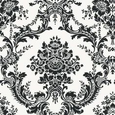 Papier Peint damassé antoinette bleu noir et blanc