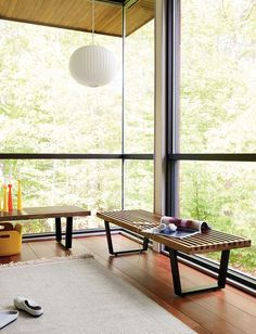 """Nelson™ Platform Bench $2K for 6"""" bench in walnut from dwr plus 5 weeks' delivery"""