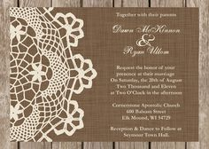 Custom Rustic Doily Wedding Invitation, Vintage Lace Wedding Invitation, Western Wedding Invitation