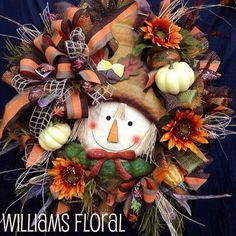 Premium Scarecrow Fall Mesh Wreath