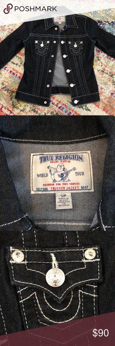 NWOT true religion trucker jacket New, never worn Black with contrast stitching True Religion Jackets & Coats Jean Jackets