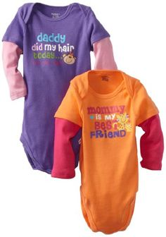 Gerber Baby-Girls Newborn 2 Pack Bodysuits, Purple/Orange, « Clothing Impulse