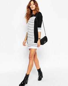 Image 4 ofASOS Knit Dress In Stripe With Blocking